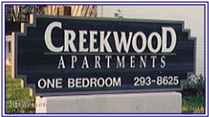 Creekwood Apartments Sandblasted Sign