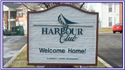 Harbour Club Sandblasted Sign