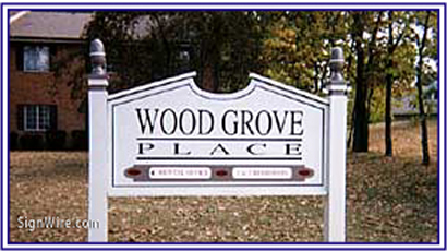 Wood Grove Place Sandblasted Sign