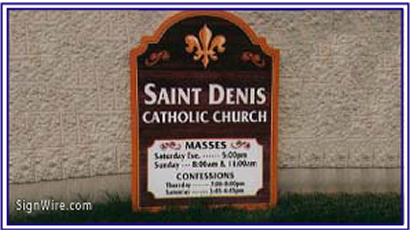 Saint Denis Sandblasted Sign