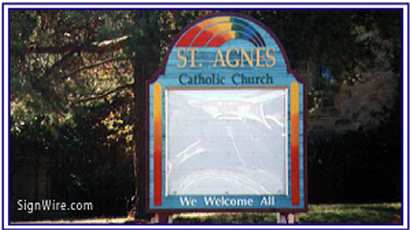 St. Agnes Sandblasted Sign