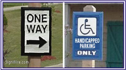 Directional Sandblasted Signs