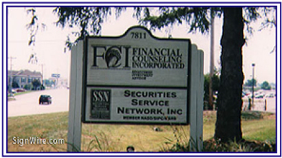 Financial Consulting Incorporated Sandblasted Sign