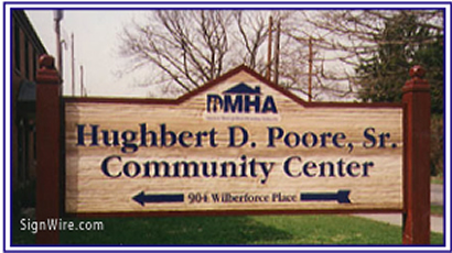 Hughbert D. Poore Sr. Community Center Sandblasted Sign