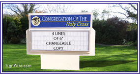 4x6 Outdoor Lighted Monument Church Sign Cabinet with Changeable Copy