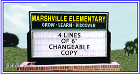4x6 Outdoor Lighted Monument School Sign Cabinet with Changeable Copy