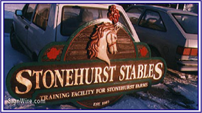 Stonehurst Stables Sandblasted Sign