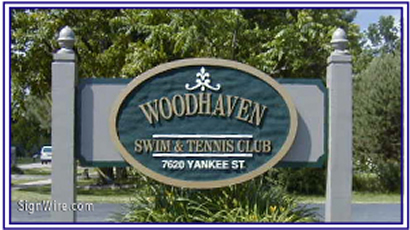 Woodhaven Swim & Tennis Club Sandblasted Sign