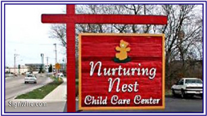 Nurturing Nest Sandblasted Sign