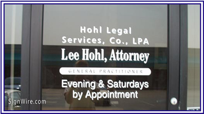 Lee Hohl Attorney Vinyl Graphics