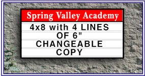 4x6 Outdoor Lighted Wall School Sign Cabinet with Changeable Copy
